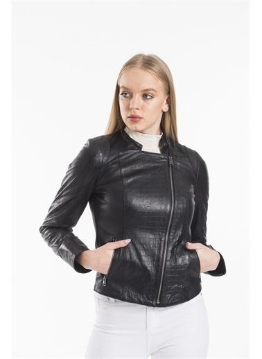 Deri Effect Kadın Kroko Baskı Deri Ceket Siyah